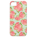 Elegant Vintage Retro Floral Print Pink Mint Girly iPhone 5 Cases