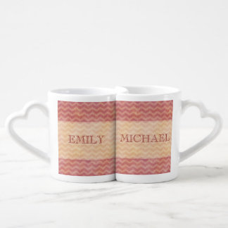 Elegant vintage retro gentle chevron / add name lovers mugs