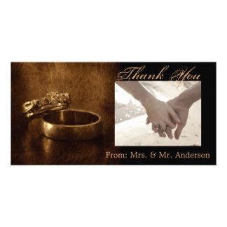 elegant vintage  rings leather wedding thank you photo card