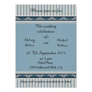 Elegant vintage romantic damask lace stripewedding card