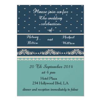 Elegant vintage romantic damask polka dots wedding card
