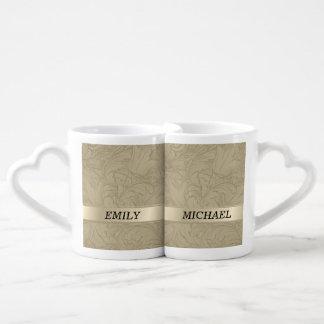 Elegant vintage romantic gentle floral / add name couples mug