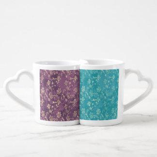 Elegant vintage romantic gentle floral purple/teal lovers mug set