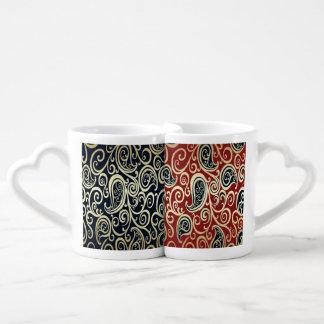Elegant vintage romantic gentle floral red/black lovers mug set