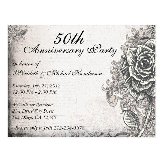 Elegant Vintage Rose Anniversary Party Invite Postcard