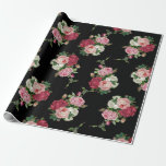 Elegant Vintage Rose Bouquets-black Background Wrapping Paper at Zazzle