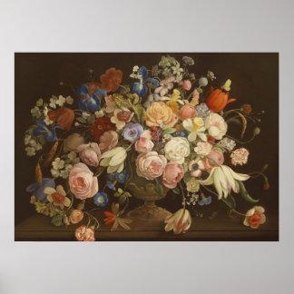Elegant Vintage Rose Floral Painting Anton Muller Poster
