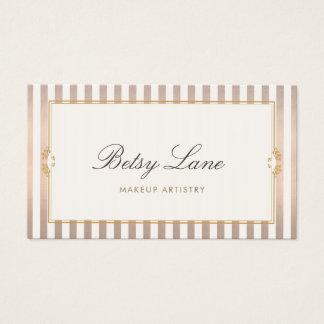Elegant Vintage Rose Gold Stripes Beauty Salon Business Card