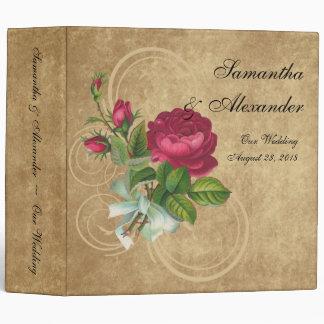Elegant Vintage Rose, Magenta/Brown Binder
