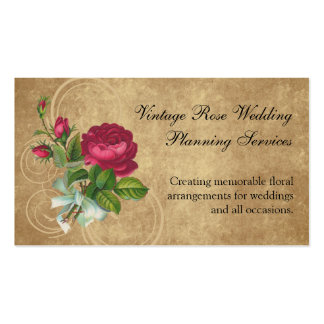 Elegant Vintage Rose, Magenta/Brown Business Card Template