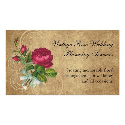 Elegant Vintage Rose, Magenta/Brown Business Card Template