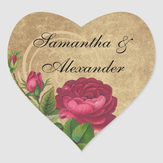 Elegant Vintage Rose, Magenta/Brown Heart Sticker