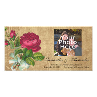 Elegant Vintage Rose, Magenta/Brown Picture Card