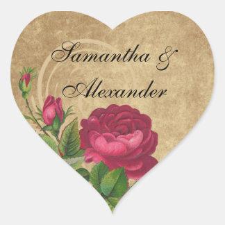 Elegant Vintage Rose, Magenta/Brown Heart Sticker