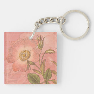 Elegant Vintage Rose Peach Colored Background Double-Sided Square Acrylic Keychain