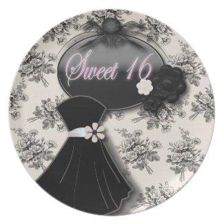 Elegant Vintage Rose Sweet 16 Gift Plate plate