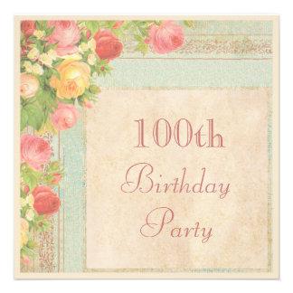 Elegant Vintage Roses 100th Birthday Party Custom Invitation