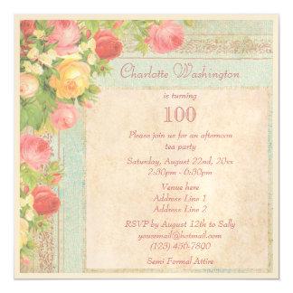 Elegant Vintage Roses 100th Birthday Party Magnetic Card