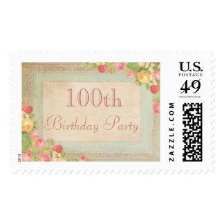 Elegant Vintage Roses 100th Birthday Party Postage Stamps