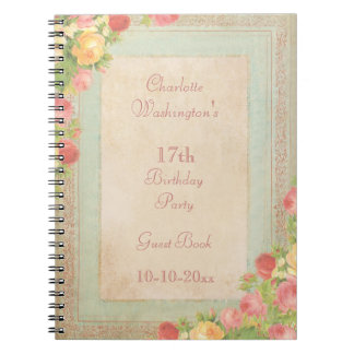 Elegant Vintage Roses 17th Birthday Party Spiral Notebook