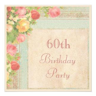 Elegant Vintage Roses 60th Birthday Party Invitations