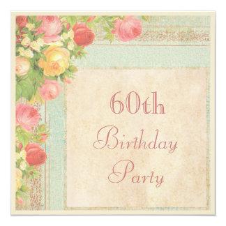 Elegant Vintage Roses 60th Birthday Party 5.25x5.25 Square Paper Invitation Card