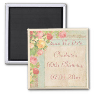 Elegant Vintage Roses 60th Birthday Save The Date 2 Inch Square Magnet