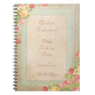 Elegant Vintage Roses 70th Birthday Party Spiral Note Books