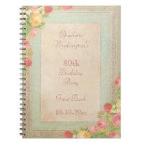 Elegant Vintage Roses 80th Birthday Party Notebook