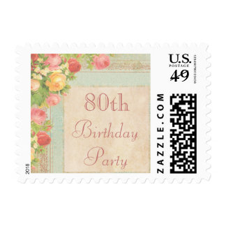 Elegant Vintage Roses 80th Birthday Postage