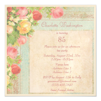 Elegant Vintage Roses 85th Birthday Party Magnetic Invitations