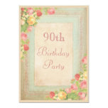 Elegant Vintage Roses 90th Birthday Party 5x7 Paper Invitation Card