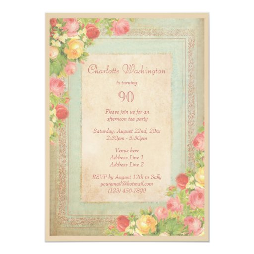 Elegant Vintage Roses 90th Birthday Party Personalized Invites (back side)
