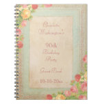 Elegant Vintage Roses 90th Birthday Party Spiral Notebook
