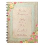 Elegant Vintage Roses 90th Birthday Party Spiral Notebooks