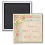Elegant Vintage Roses 90th Birthday Save The Date 2 Inch Square Magnet