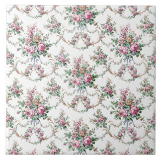 Elegant Vintage Roses and Swags Ceramic Tile