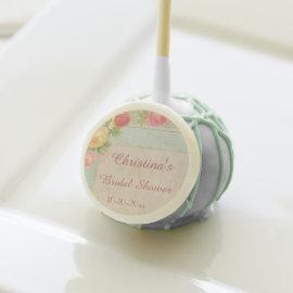 Elegant Vintage Roses Bridal Shower Cake Pops