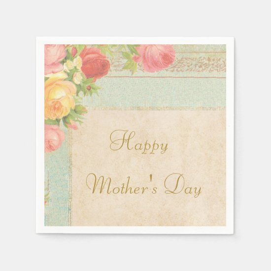 Elegant Vintage Roses Mother's Day Paper Napkin