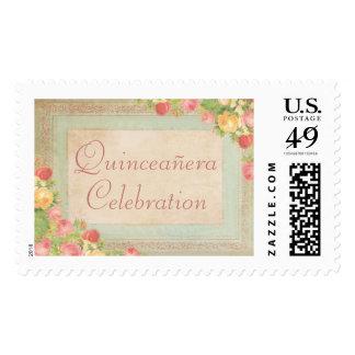 Elegant Vintage Roses Quinceañera Celebration Postage