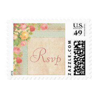 Elegant Vintage Roses RSVP Postage