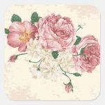 Elegant Vintage Roses Square Stickers