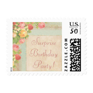 Elegant Vintage Roses Surprise Birthday Party Postage