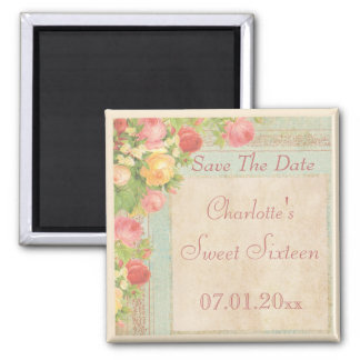 Elegant Vintage Roses Sweet Sixteen Save The Date 2 Inch Square Magnet