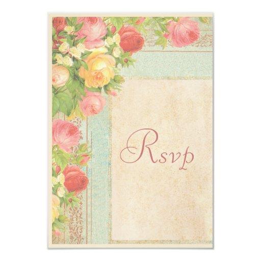 Elegant Vintage Roses Wedding RSVP 3.5x5 Paper Invitation Card