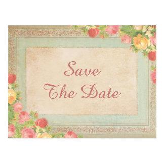 Elegant Vintage Roses Wedding Save The Date Postcard