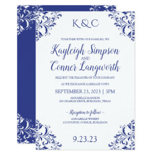 Rlv Zcache Com Elegant Vintage Royal Blue Wedding
