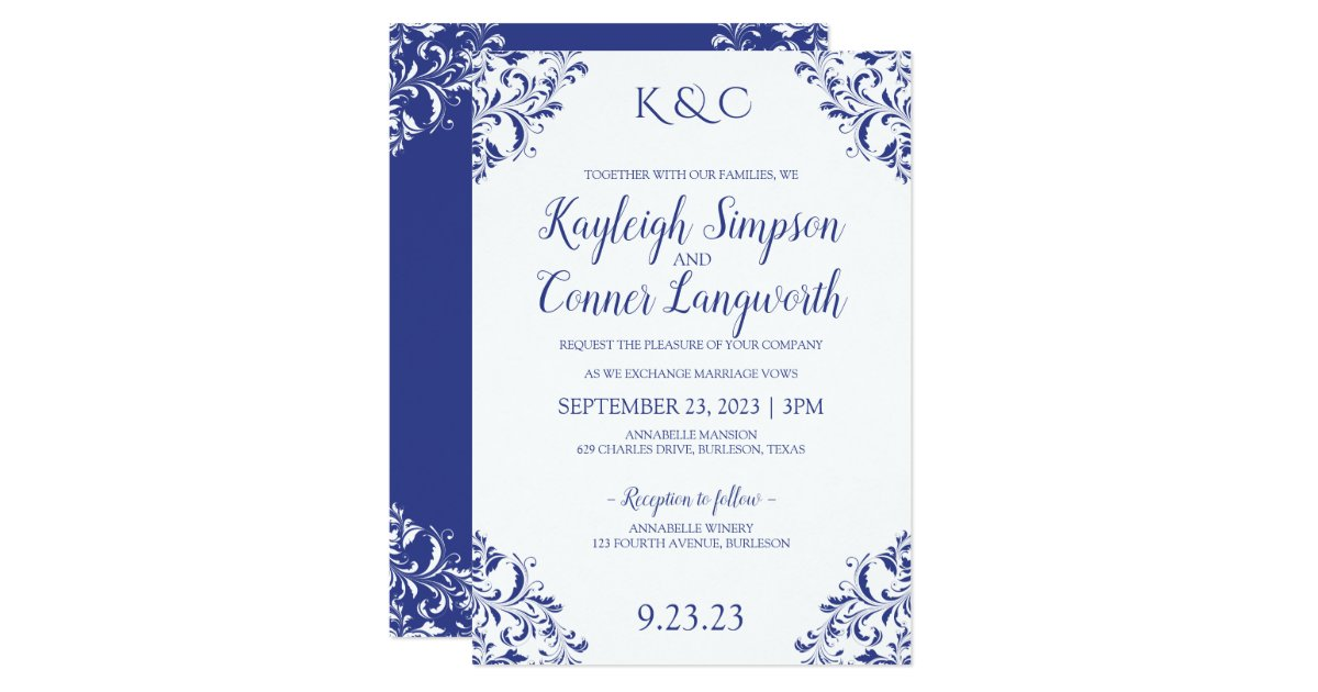 Wedding Invitation Designs Royal Blue: Elegant Vintage Royal Blue Wedding Invitations