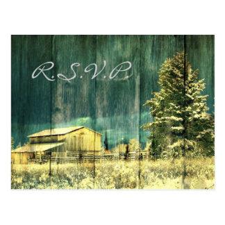elegant vintage rustic country wedding RSVP Post Card