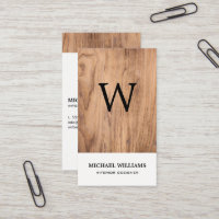 Elegant Vintage Rustic Wood Monogram Business Card
